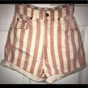 High-waisted Mom shorts. Denim.